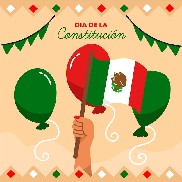 Mexico constitution day illustration with balloons Free Vector