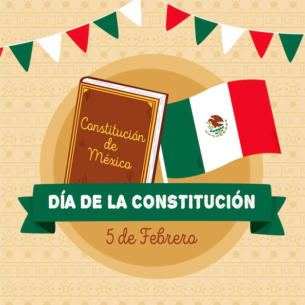 Mexicoconstitution day illustration with book Free Vector