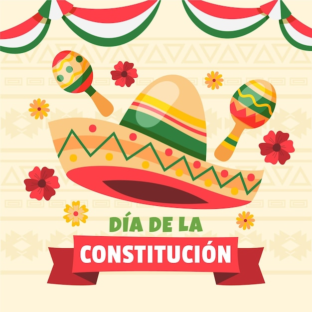 Mexicoconstitution day illustration Free Vector