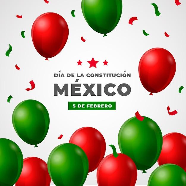 멕시코 헌법의 날 현실적인 풍선 무료 벡터