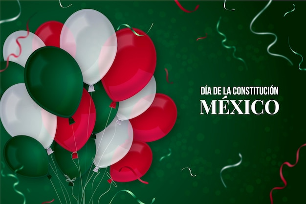 Mexico constitution day realistic balloons Premium Vector