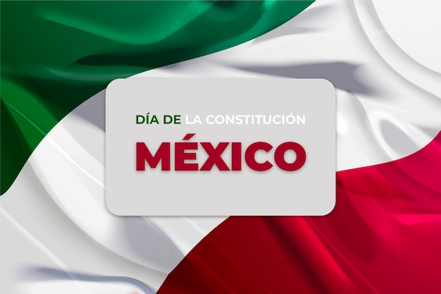 Mexico constitution day realistic flag Free Vector
