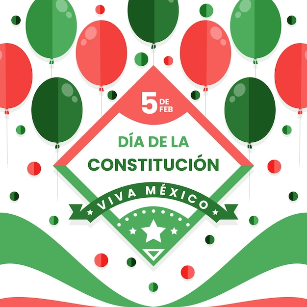 Mexico constitution day with balloons Free Vector