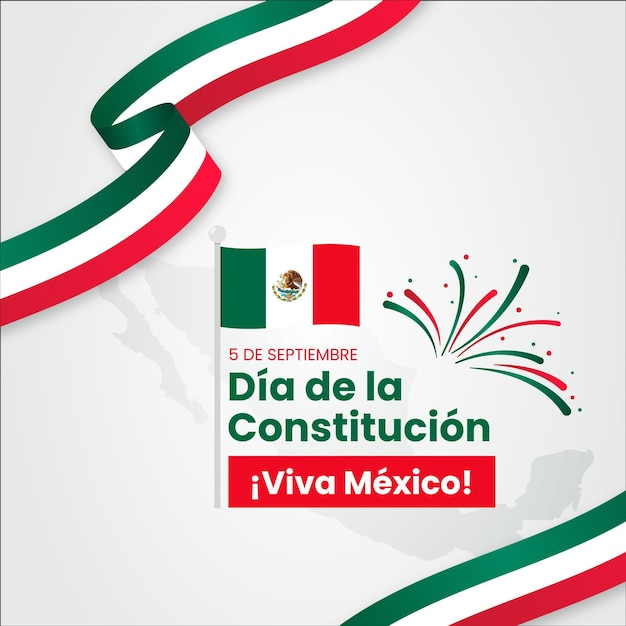 Mexico constitution day with flags Free Vector