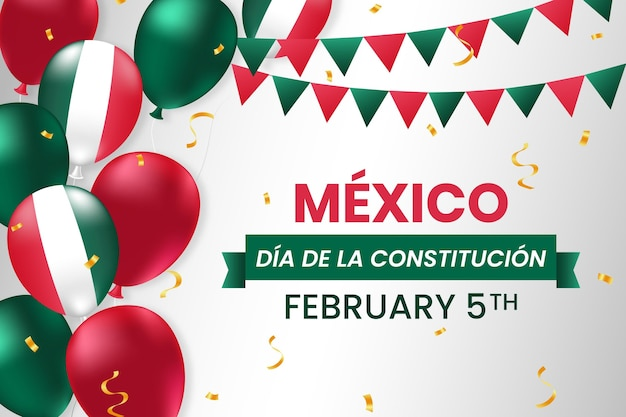 Mexico constitution day with realistic balloons Free Vector