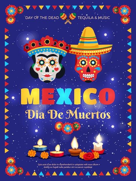 죽은 날 축하 기호 마스크 촛불 액세서리 파란색 배경으로 멕시코 문화 전통 화려한 포스터 무료 벡터