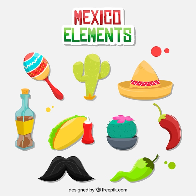 Mexico elements pack Free Vector