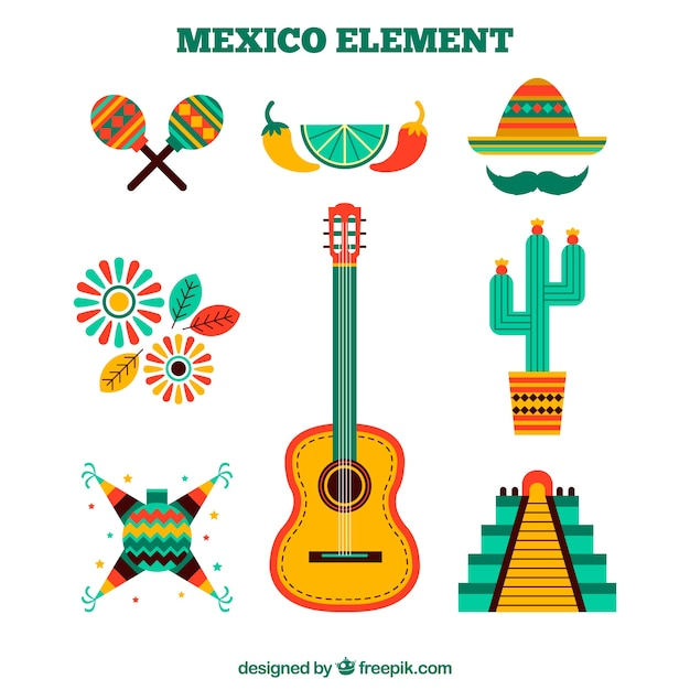 Mexico elements set in flat design Free Vector