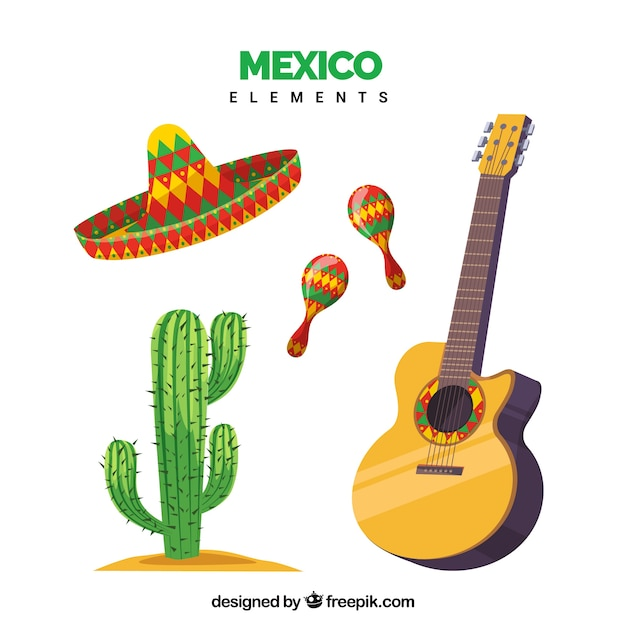 Mexico elements set of four Free Vector