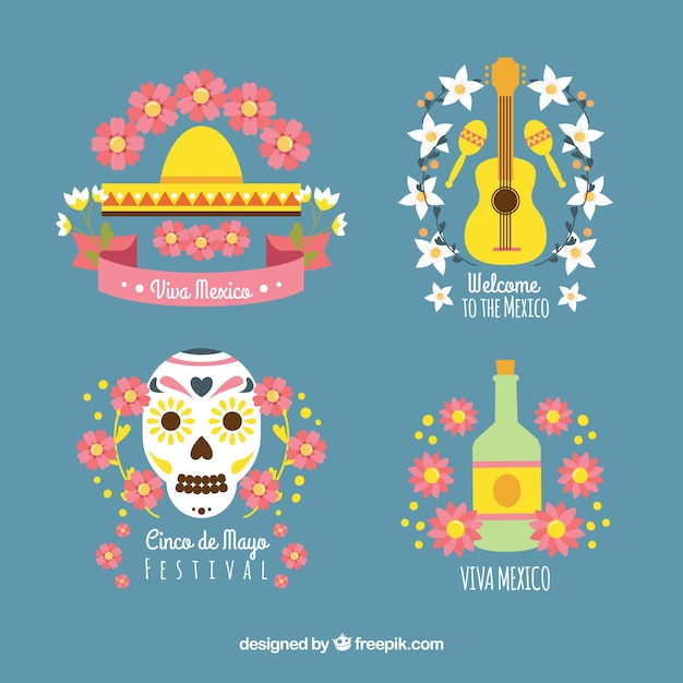 Mexico elements set Free Vector