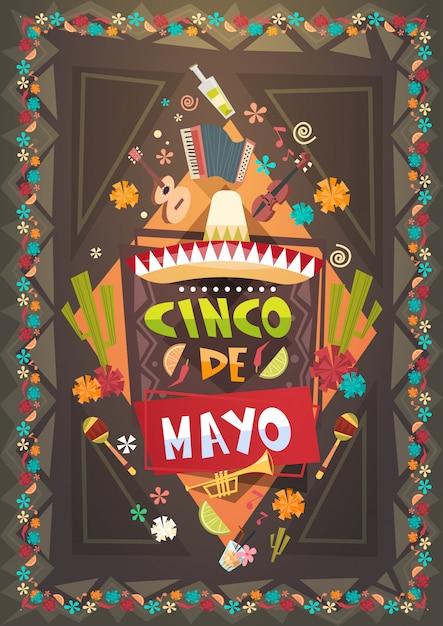 Mexico festival cinco de mayo poster mexican holiday event decoration design Premium Vector