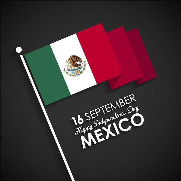 Mexico flag on a black background for independence day Free Vector