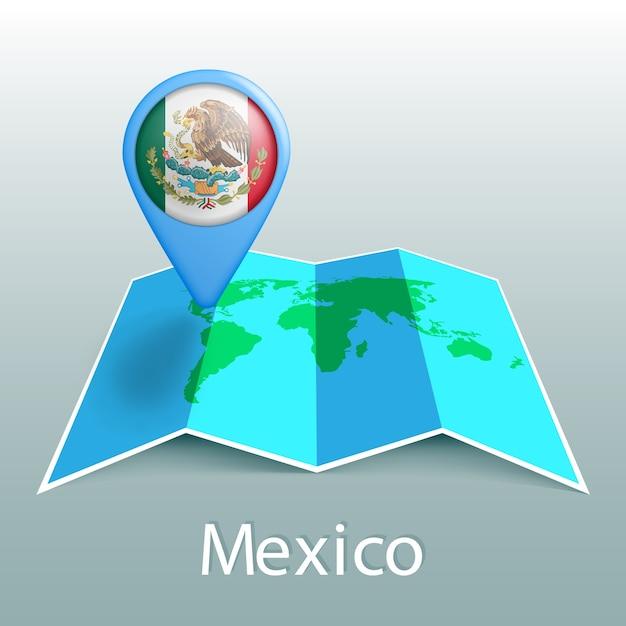灰色の背景に国の名前とピンでメキシコの旗の世界地図 Premiumベクター