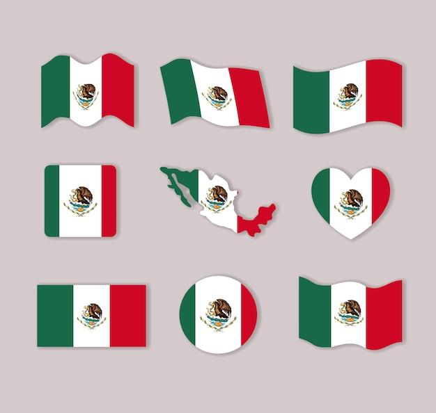 많은 형태로 멕시코 플래그 컬렉션 화려한 실루엣 프리미엄 벡터