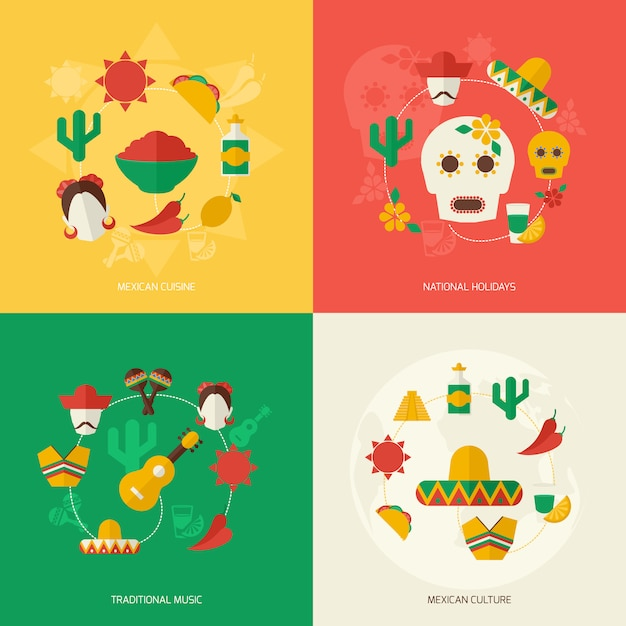 Mexico flat elements composition set Free Vector