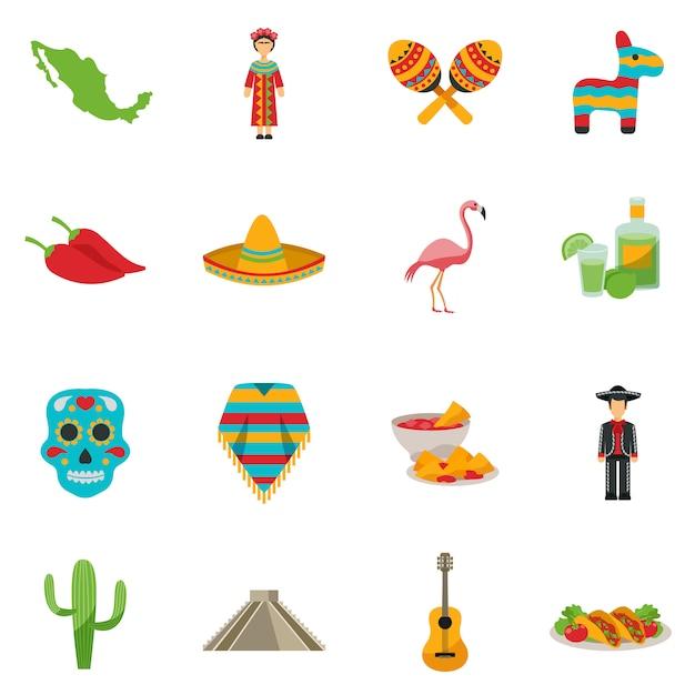 Мексика с плоским икона set Бесплатные векторы