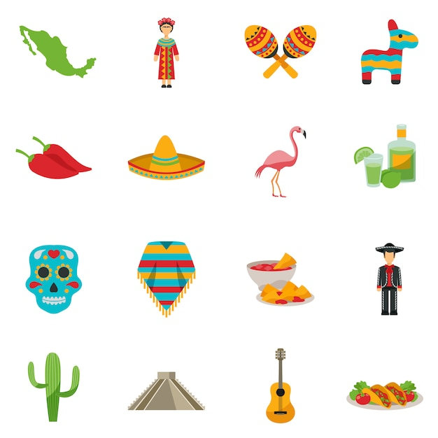Mexico flat icon set Free Vector