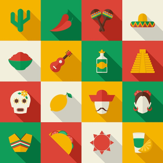 Mexico flat icons set Free Vector