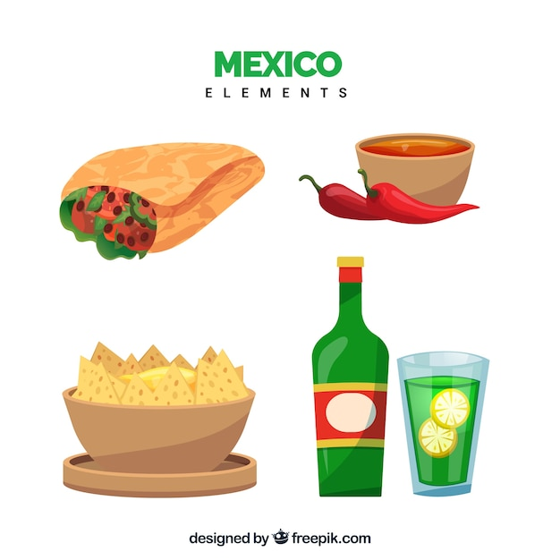 Mexico food collection Free Vector