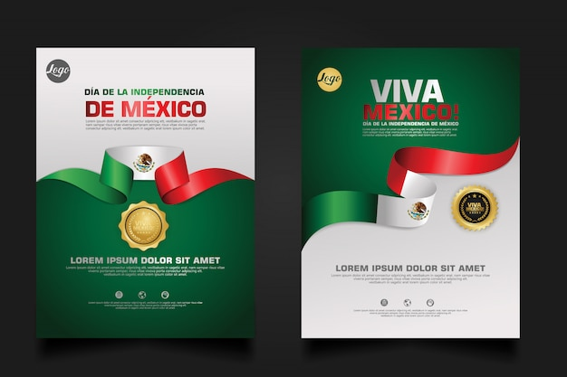 Мексика счастливый день независимости шаблон. Premium векторы