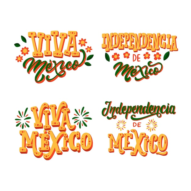 Mexico independence day badges Free Vector