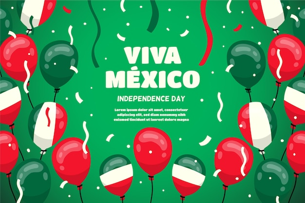Mexico independence day balloon background Free Vector