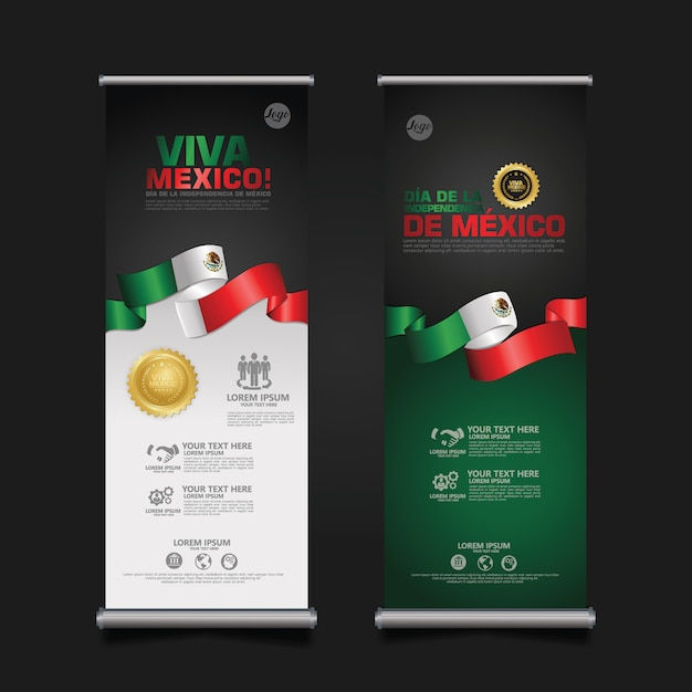 Mexico independence day celebration, roll up banner set   template. Premium Vector