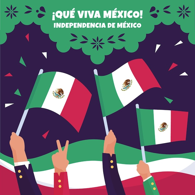 Mexico independence day celebration Free Vector
