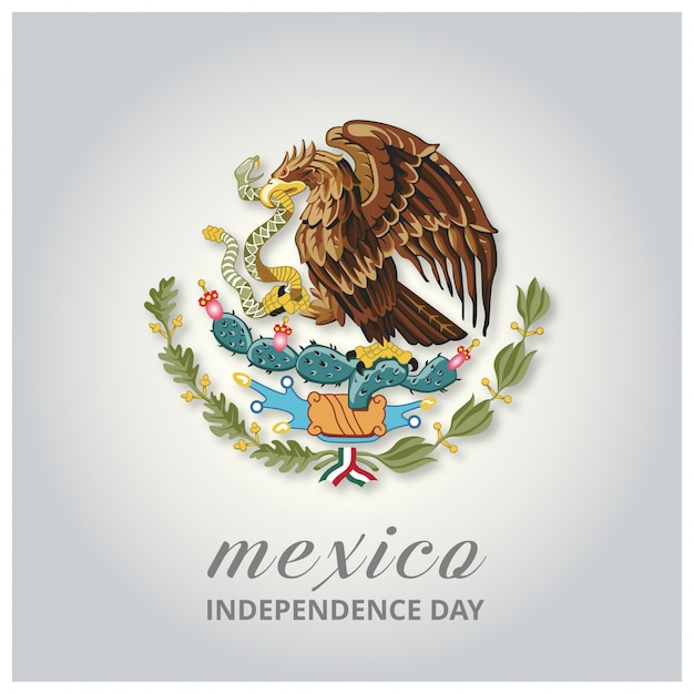 Mexico independence day design with eagle Free Vector