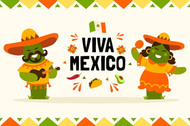 Mexico independence day draw Free Vector