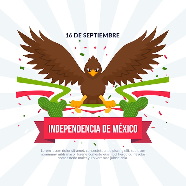 Mexico independence day in flat design Free Vector