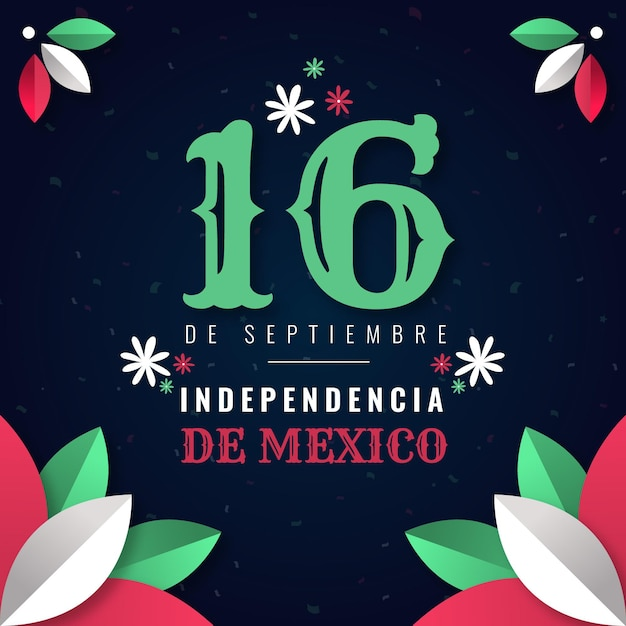 Mexico independence day illustration style Free Vector
