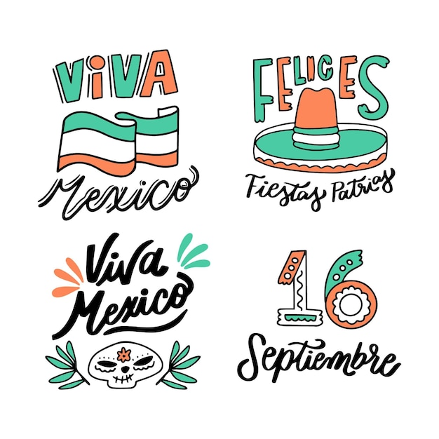 Mexico independence day lettering badges Free Vector