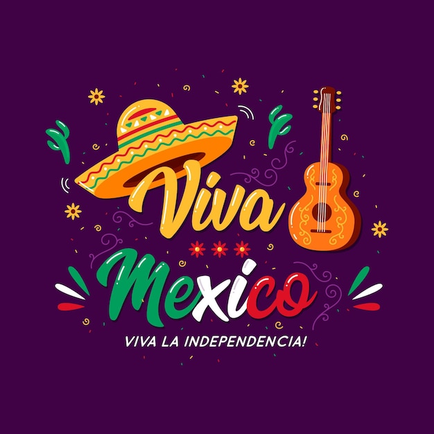 Mexico independence day lettering concept Premium Vector