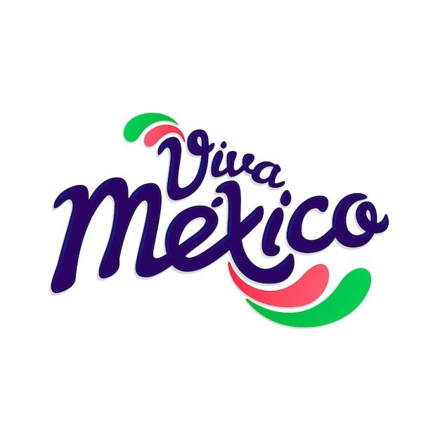 メキシコ独立記念日レタリングデザイン 無料ベクター