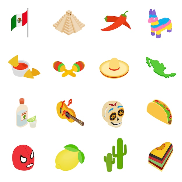 Mexico isometric 3d icons set isolated on white background Premium Vector