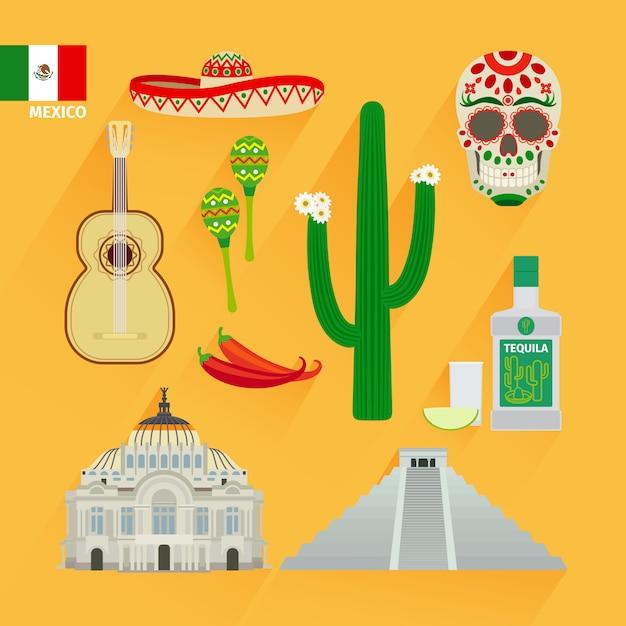 Mexico landmarks icons Premium Vector