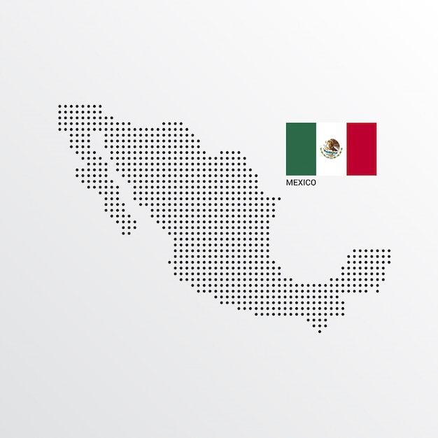 Mexico Map design with flag and light background vector  Free Vector
