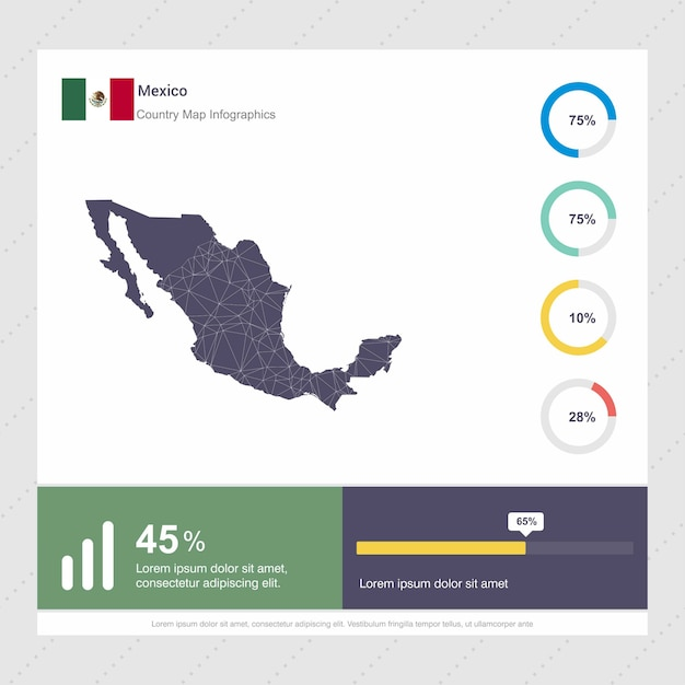 Mexico Map & Flag Infographics template Free Vector