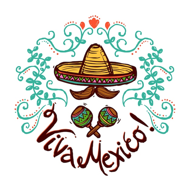 Mexico Sketch Illustration Free Vector