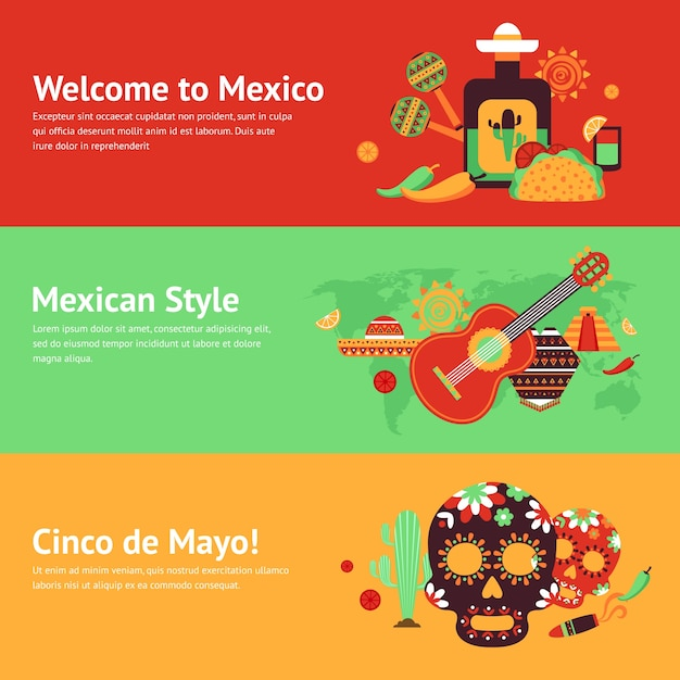 Mexico style travel music and food symbols\ banner set isolated vector illustration