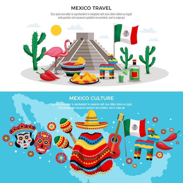 Мексика путешествия культура традиции достопримечательности символы горизонтальный с картой маска солнца сомбреро Бесплатные векторы