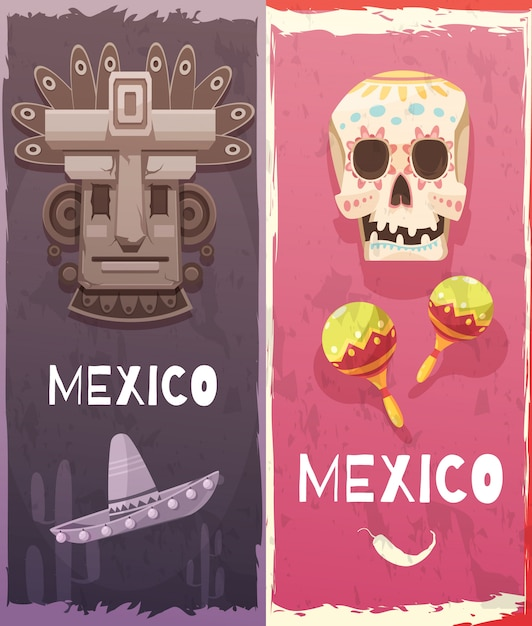 Mexico vertical banners Free Vector