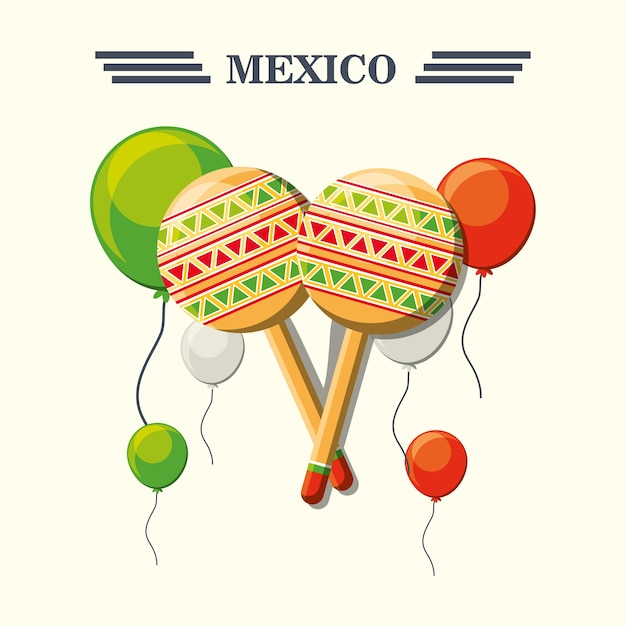 mexico with colorful maracas and balloons over white background