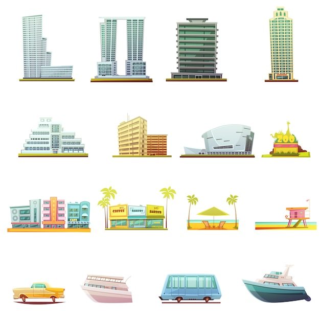 Miami beach buildings city landscape tourists attractions and transportation retro cartoon Free Vector