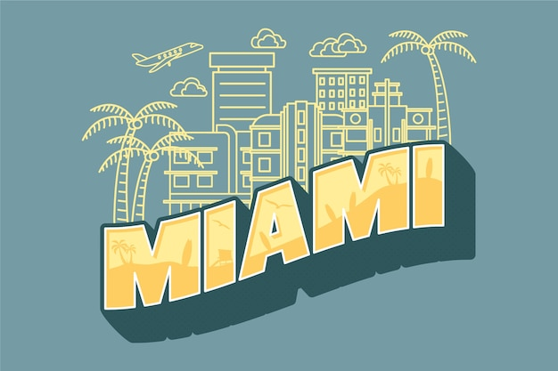 Miami city lettering Free Vector