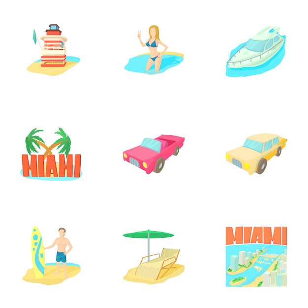 Miami set, cartoon style Premium Vector