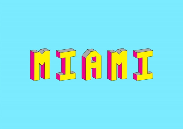 Miami text with 3d isometric effect Premium Vector