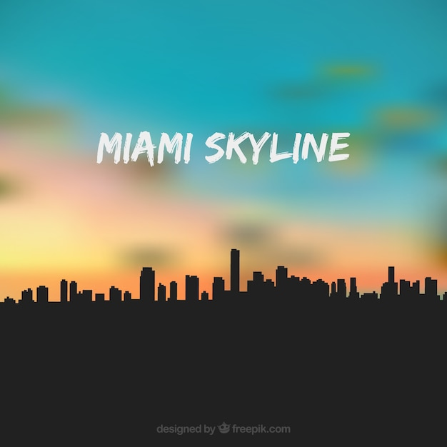 Miami usa skyline Free Vector