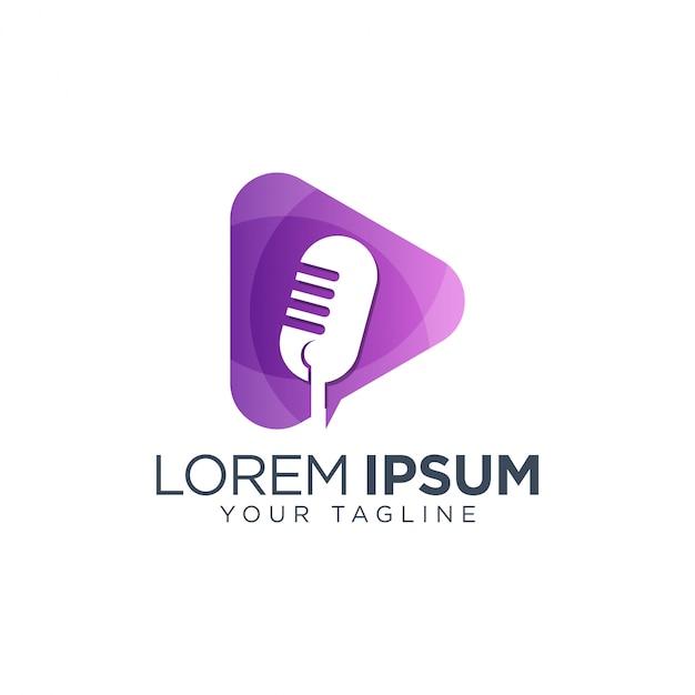 Шаблон логотипа аудио-подкаста mic Premium векторы